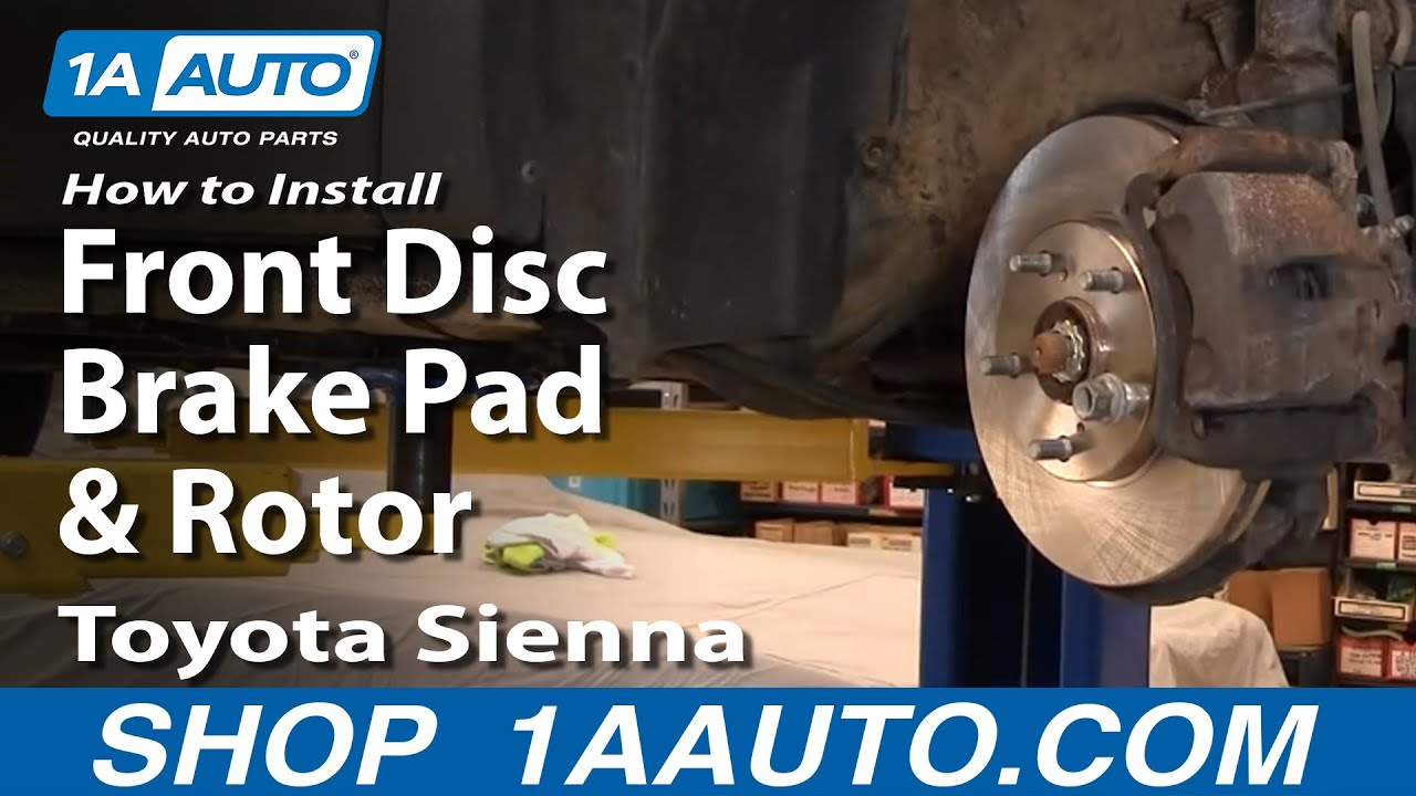 how to install replace front disc brake pads rotors toyota sienna 98 03 youtube. Black Bedroom Furniture Sets. Home Design Ideas