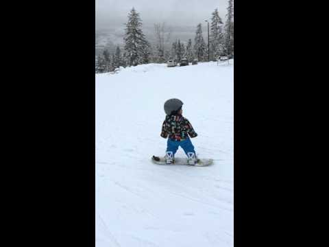 14 month old baby snowboarding in Fairmont British Columbia # Burton after school special 80