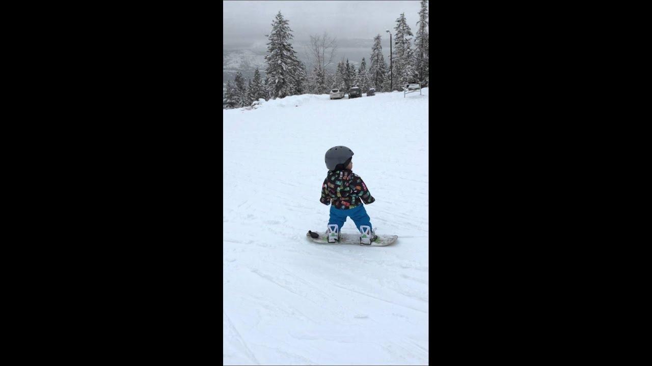 14 month old baby snowboarding in fairmont british columbia burton
