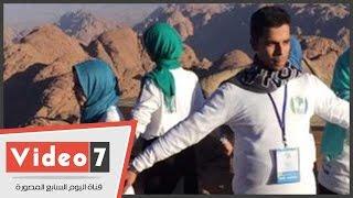 بالفيديو..شباب سيناء يوجهون نداء للعالم للاتحاد ضد مرض السرطان من أعلى جبل موسى