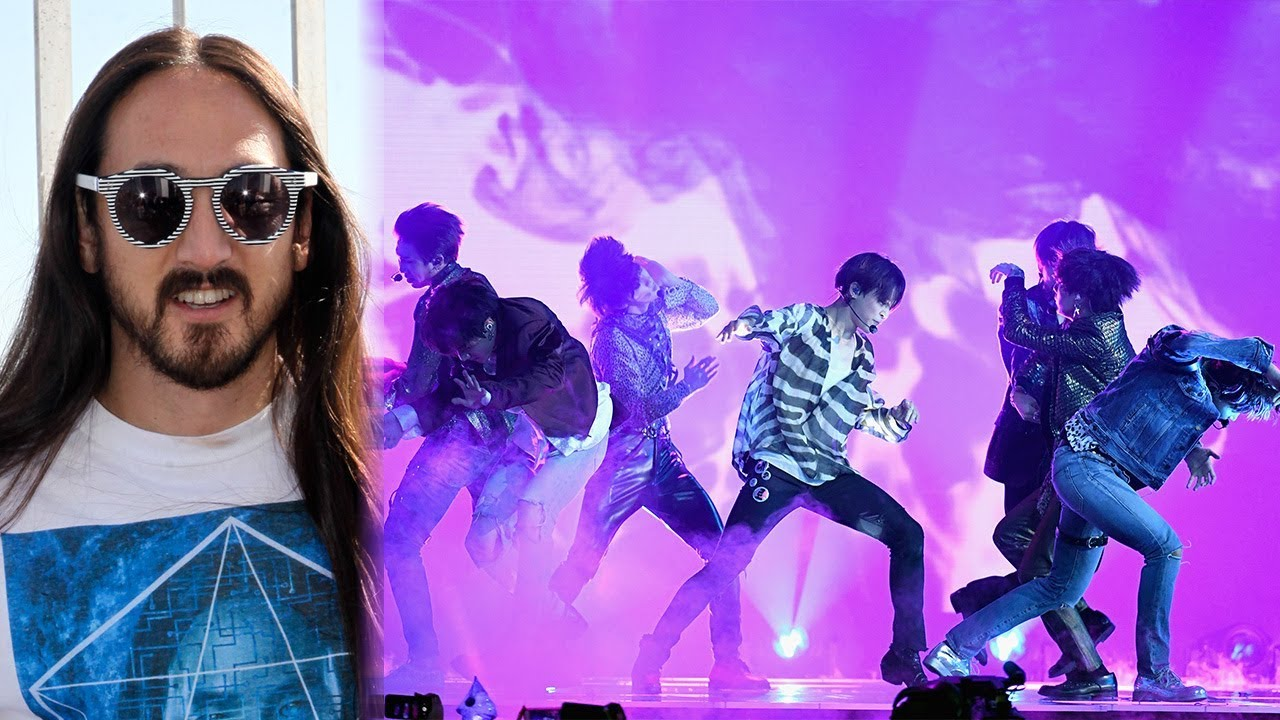 Musicians Steve Aoki and BTS.