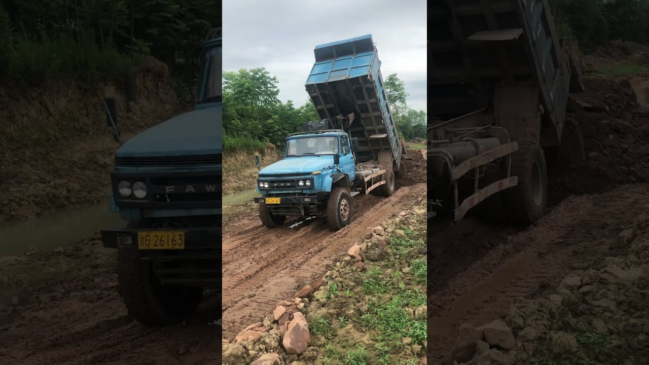 """Chinese legendary truck """"yiqiliute"""" """"一汽柳特"""" working on steep slope with full load #shorts"""