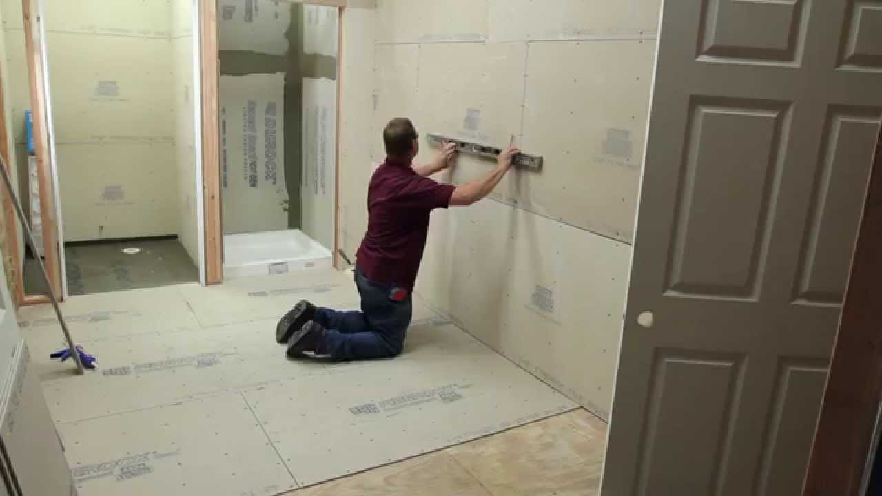 Bathroom remodeling using usgs underlayment and backerboard youtube dailygadgetfo Image collections