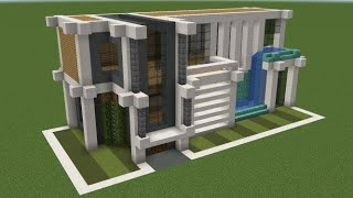 Minecraft - How to build a modern house with a pool
