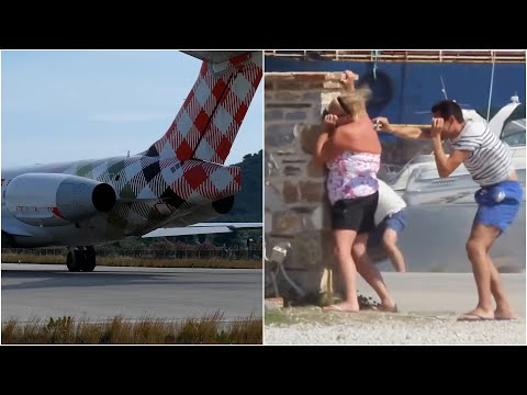 Extreme Plane Jet Blasts Blowing People & Objects Away