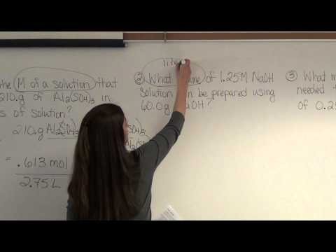 Molarity Problems And Examples