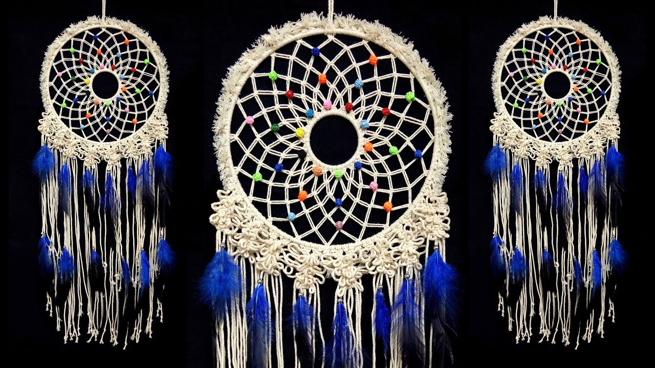 How To Make A Macrame Wall Hanging Dreamcatcher Diy Tutorial Youtube