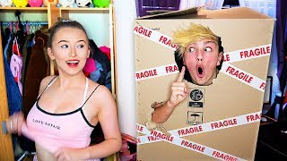 I Mailed Myself in a Box to my Girlfriends House & She had No Idea... (24 Hour Challenge)
