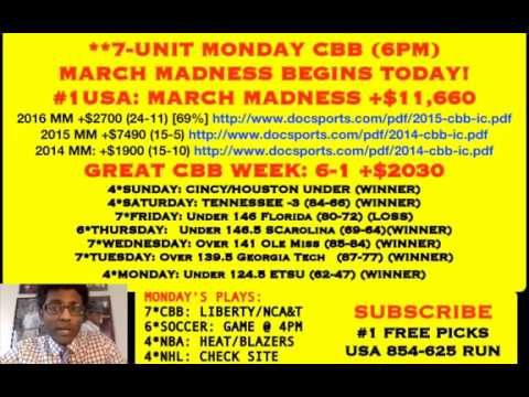 FREE NBA PICKS, MARCH MADNESS BEGINS TODAY! #1 USA: +$11,660 L4 YEARS, 6-1 RUN [03/12/18]