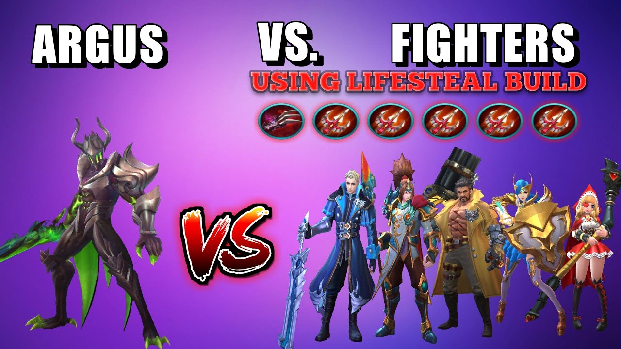 ARGUS VS. 5 FIGHTERS WITH FULL LIFESTEAL BUILD | WHO WILL WIN? | MOBILE LEGENDS