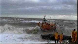 RNLI  lifeboat launch in rough sea