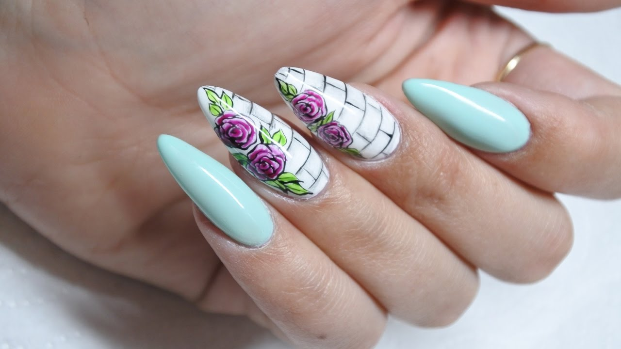 Roses On The Wall Quick Roses Nail Art Mint Nails Youtube