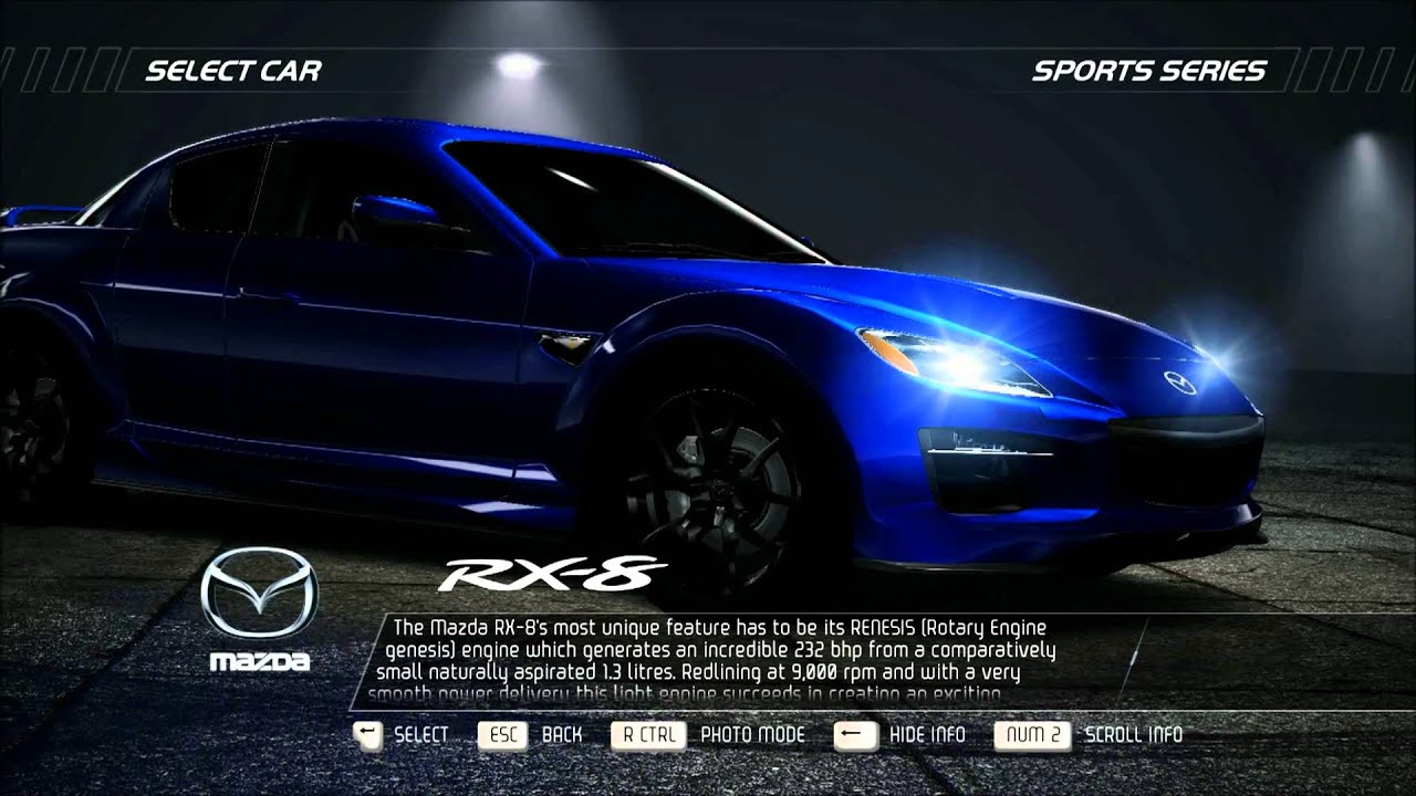 need for speed hot pursuit - car info - mazda rx-8 - youtube