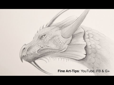 How to Draw a Dragon Head With Pencil