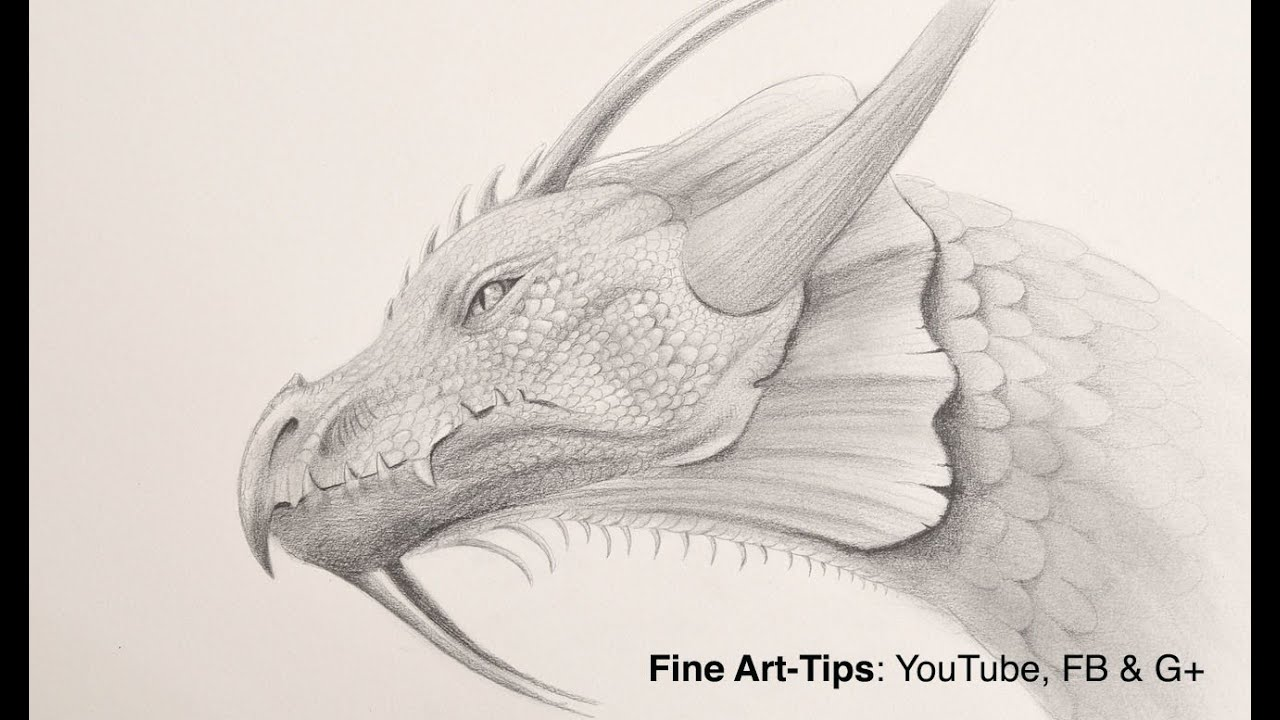 How to Draw a Dragon Head With Pencil - YouTube