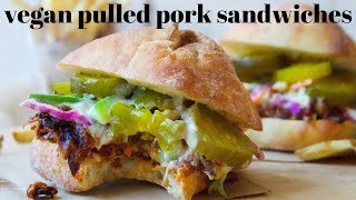 VEGAN PULLED PORK SANDWICHES [NO JACKFRUIT] | PLANTIFULLY BASED