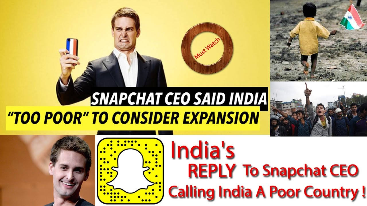 Indias REPLY To Snapchat CEO Calling India A Poor Country I Hindi - Is india a poor country