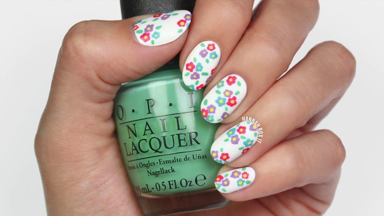 Spring Flowers Nail Art With @Hannahroxit - YouTube