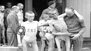 Emaciated prisoners of a Nazi concentration camp in Ebensee, Austria released aft...HD Stock Footage