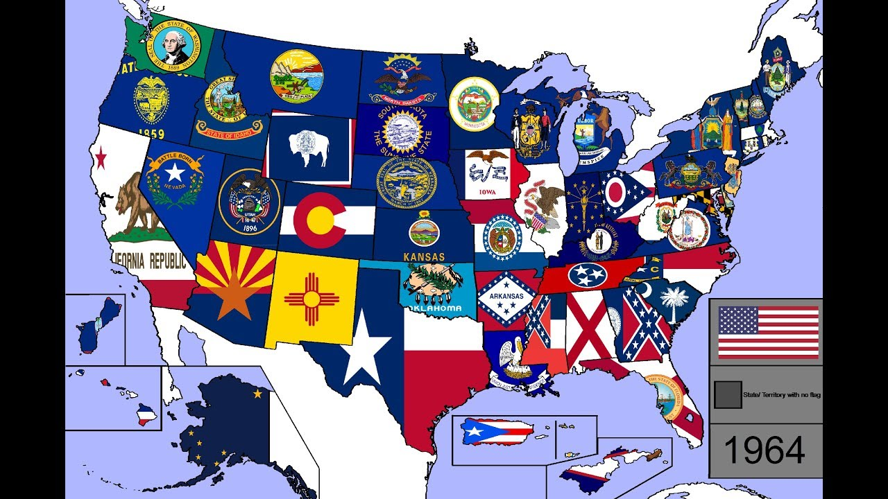 77a00014fd2 Evolution of U.S. State   Territory Flags (1776 - 2018) - YouTube