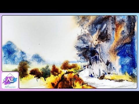 Hill Transparent Watercolor Landscape Painting | How to paint watercolor landscape | Art Explain