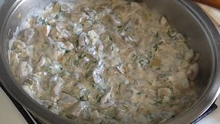 Вкусные  шампиньоны в сметане. Как приготовить грибы. Рецепт шампиньонов.