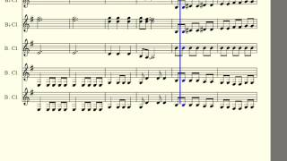 Pirates Of The Caribbean Suite | Clarinet Quintet Animated Score | 2 Bb Clarinets 3 Bass Clarinets