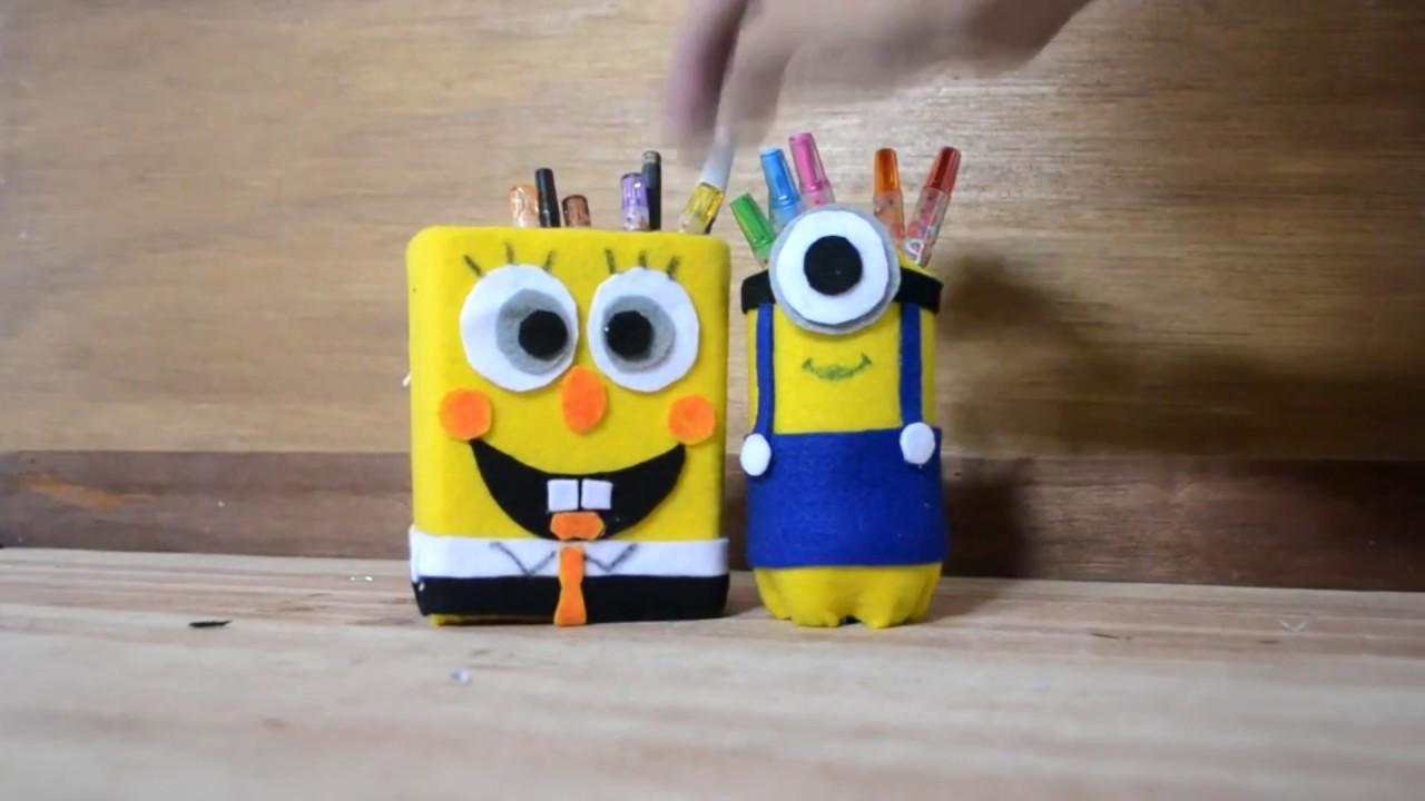 Tutorial Kotak Pensil Lucu Dari Kotak Susu Dan Botol Bekas Youtube