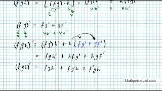 product rule on three or more functions