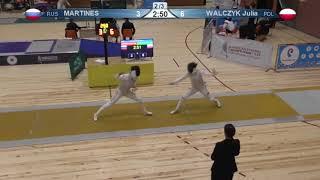 FE 2018 T16 03 F F Individual Yerevan ARM U23 European Championships YELLOW WALCZYK POL vs MARTINES