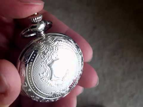 Mudder Classic Silver Steel Mens Pocket Watch With Chain Belt
