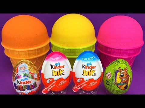 3 Color Kinetic Sand in Ice Cream Cups   Surprise Toys PJ Masks Chupa Chups Kinder Surprise Eggs