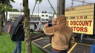 Mother slamming at confederate flag protest Portland Oregon