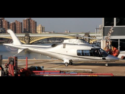 Impressive landing Agusta A109S at London Heliport taxi refuelling  and stay at Verta Hotel