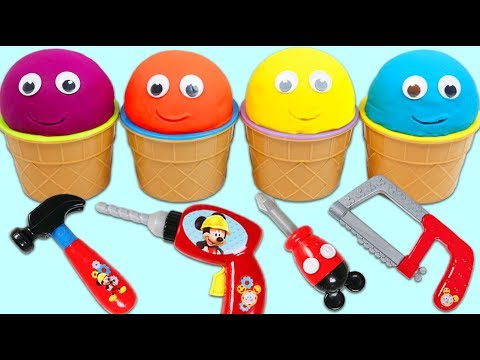 4 Color Play Doh Surprise Cups Opening With Disney Mickey Mouse Tools!