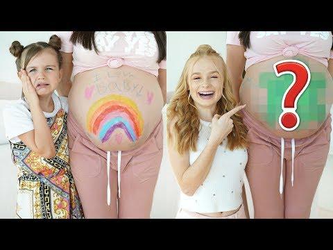 PAINTING PREGNANT BUMP ART CHALLENGE! Mia VS Sienna