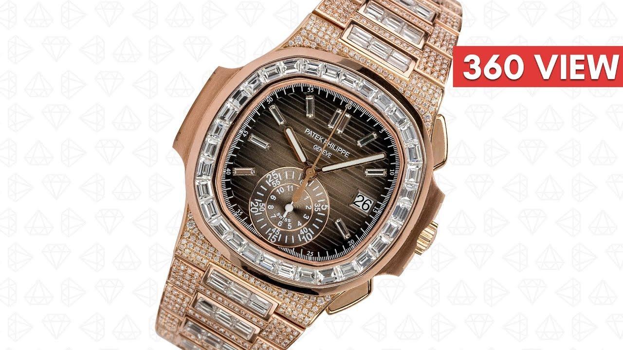regarder 9566e 72732 Custom Diamond Set Rose Gold Patek Philippe Nautilus 5980 - Time4Diamonds