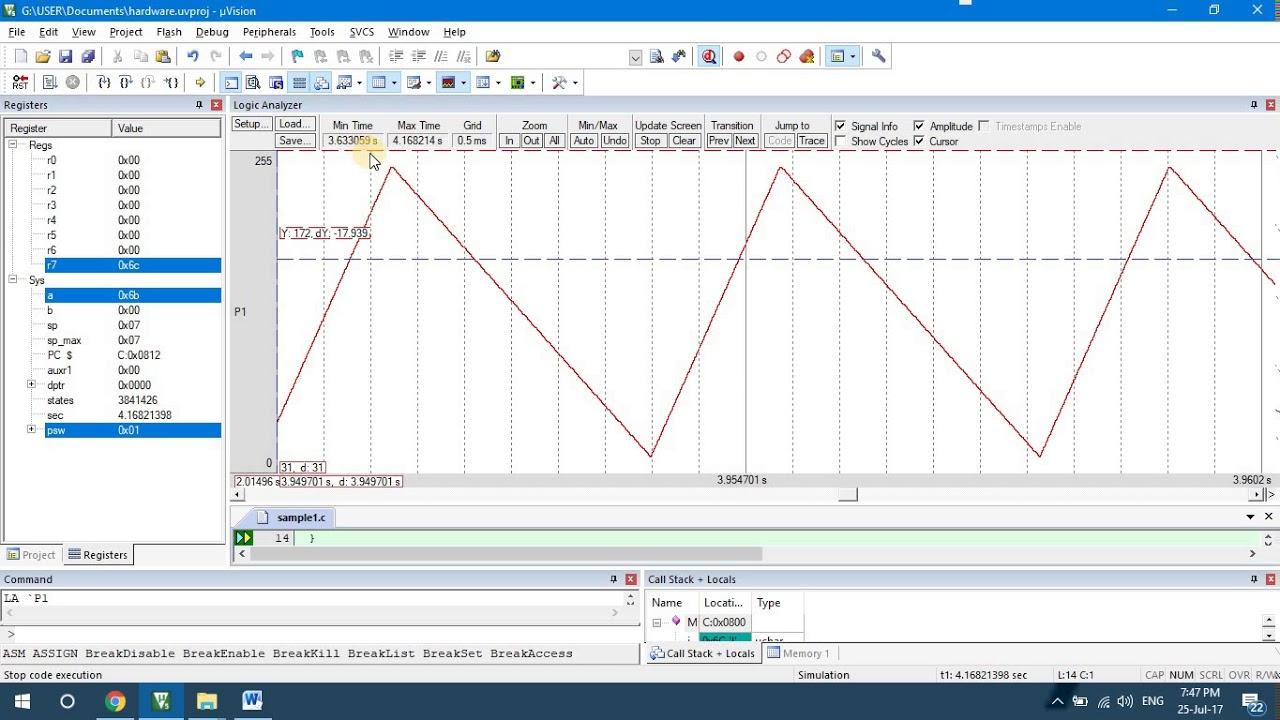 Triangular Waveform Generation Using Keil Compiler Vtu Wave Generator Circuit Microcontroller 8051 Lab Videos