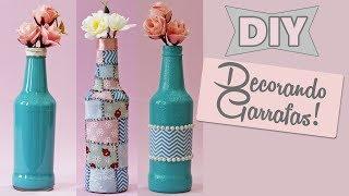 diy 3 formas de decorar garrafas de vidro 😍🌼 do lixo ao luxo ♻️