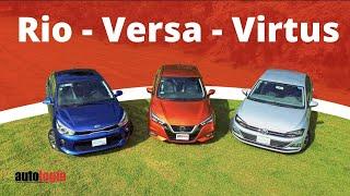 Nissan Versa, VW Virtus, Kia Rio - Test Técnico Comparativo