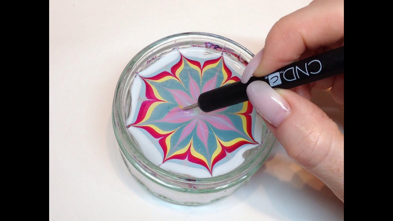How To Produce Water Marbling Nail Art With Nail Polish (CND VINYLUX ...