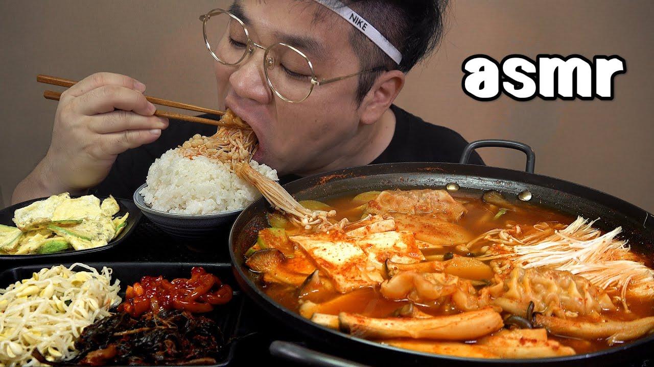 먹방창배tv 여름이니까 버섯만두두부전골 시원하다 Mushroom Hot Pot mukbang Legend koreanfood asmr