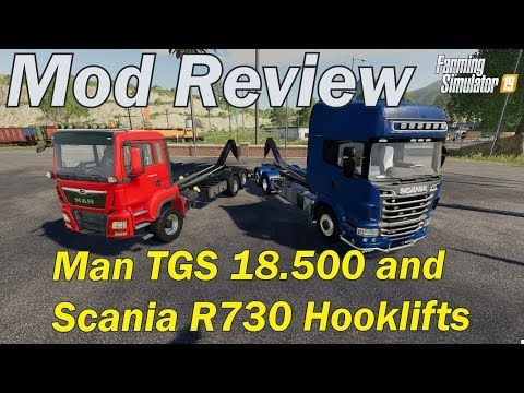 Mod Review - Man TGS 18.500 and Scania R730 Hooklift Trucks