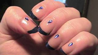 Midnight Rain drops nail art