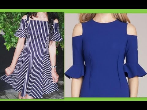 How to make Midi dress with bell sleeves cold shoulder (Hindi version)