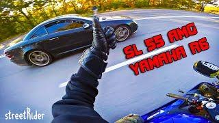 ЧУВАК НА МЕРСЕ ПЫТАЛСЯ | Mercedes-Benz SL55 AMG V8  vs Yamaha R6