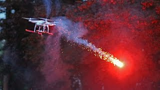 Drone quadcopter fires roman candle fireworks