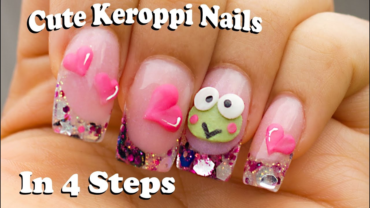 How to make 3D Keroppi for acrylic nails in 4 easy steps - YouTube