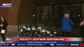 QUICK DEPARTURE: Felicity Huffman leaves court after being sentenced to 14 days