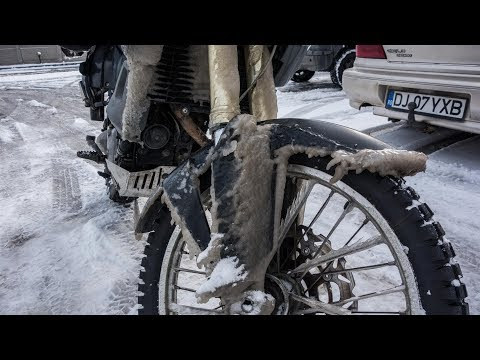 Motorcycle Trip around the Balkans. Romanian winter is not f
